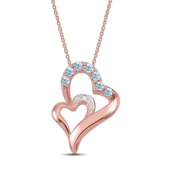 10k Rose Gold Genuine Birthstone Pendant Necklace With Diamond Accent Overstock 22863481