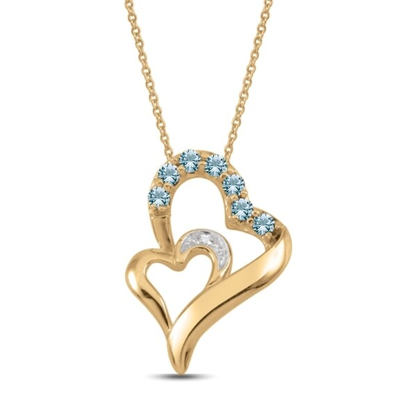 6952486fe75075 Shop 10K Rose Gold Genuine Birthstone Pendant Necklace with Diamond ...
