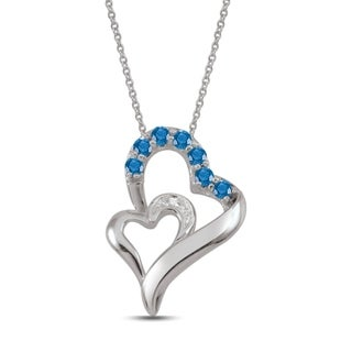 10K White Gold Genuine Birthstone Pendant Necklace with Diamond Accent