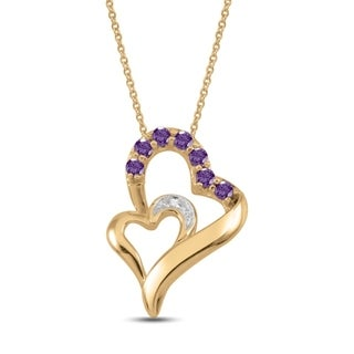 10K Yellow Gold Genuine Birthstone Pendant Necklace with Diamond Accent