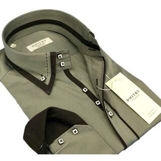DMITRY Men's Slim Grey Italian Cotton Dress Shirt