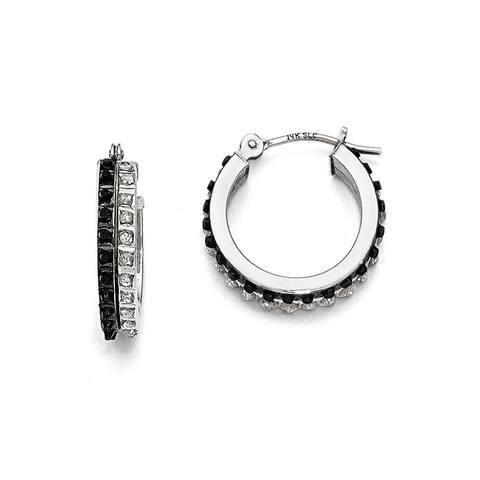 Curata 14k White Gold Diamond Black & White Diamond Round Hinged Hoop Earrings (15x4mm)