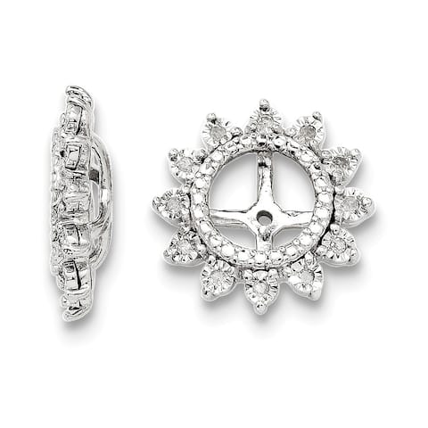 Curata Sterling Silver Rhodium-plated 0.12 cttw Diamond Earrings Jacket (13mm)