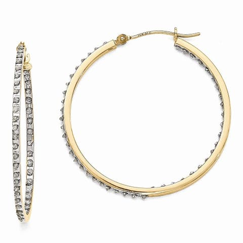Curata 14k Yellow Gold Diamond Accent Round Hinged Hoop Earrings - Measures 35x2mm