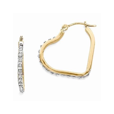 Curata 14k Yellow Gold Diamond Accent Heart Hinged Hoop Earrings (16x2mm)