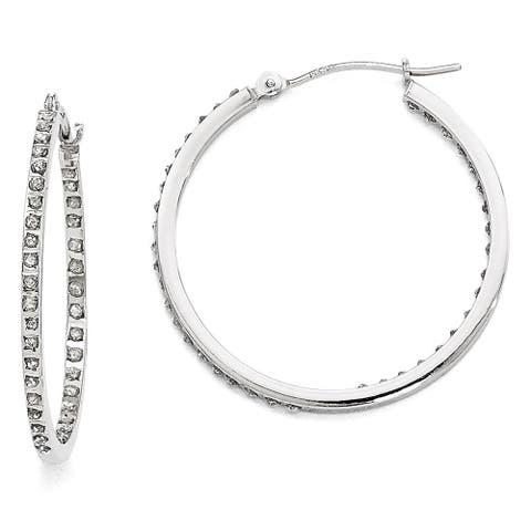 Curata 14k White Gold Diamond Accent Round Hinged Hoop Earrings (2x30mm)