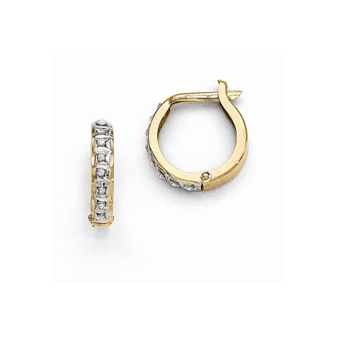 Curata 14k Yellow Gold Diamond Accent Round Hinged Earrings (2x13mm)