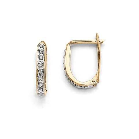 Curata 14k Yellow Gold Diamond Accent Leverback Hinged Hoop Earrings (2x16mm)