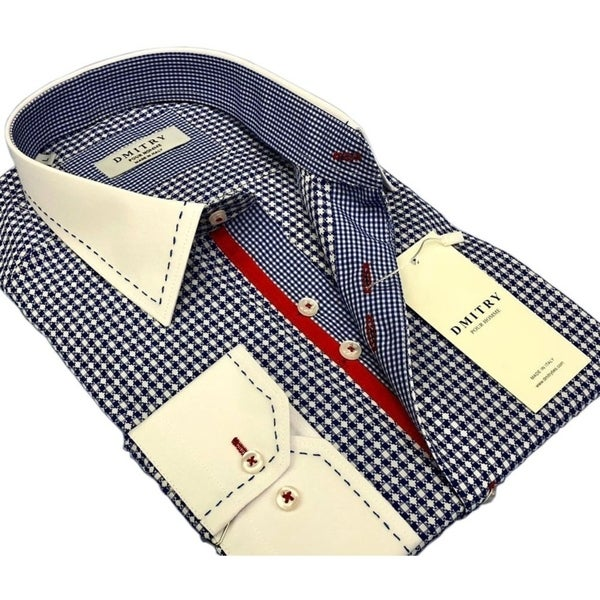 DMITRY Men's Slim Blue Patterned Italian Cotton Dress Shirt