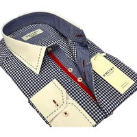 DMITRY Men's Slim Blue Patterned Italian Cotton Dress Shirt