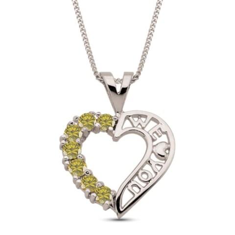 10K White Gold Genuine Birthstone Pendant Necklace