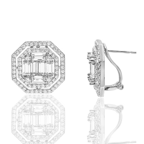 Cubic Zirconia Baguette and Round Composite Style Fancy Halo Stud Silver Earrings