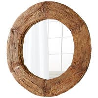 Cyan Design Wagon Brown Frame Rustic Round Mirror