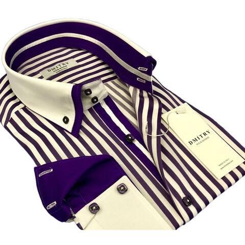 DMITRY Men's Purple/White Striped Italian Cotton Long Sleeve Dress Shirt