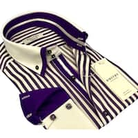 DMITRY Men's Purple/White Striped Italian Cotton Long Sleeve Dress Shirt