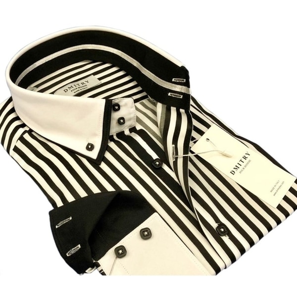 DMITRY Mens Slim Black/White Striped Italian Cotton Long Sleeve Dress Shirt