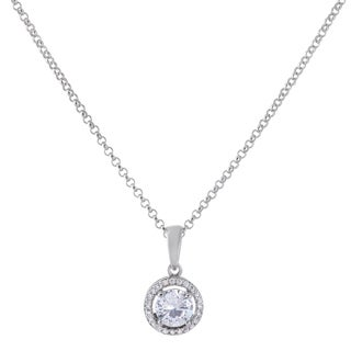 Simulated Gemstone With Cubic Zirconia Halo Design Solitaire Pendant Silver Necklace