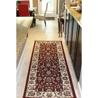 Sun Ray Outline Red Area Rug - 3' x 8'