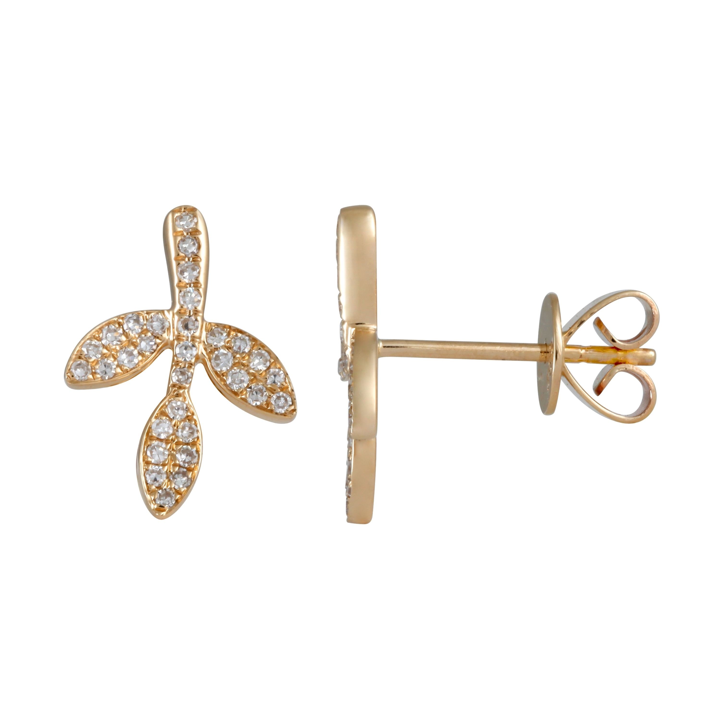 02f7f9f99 Shop Leaf Shaped Stud Earring For Women 14k Yellow Gold 0.2 Ct White  Diamond Earrings - Free Shipping Today - Overstock - 22866996