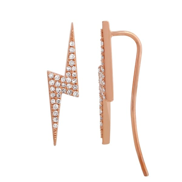 18ff85f49ee Shop Lightning Bolt Crawler Earring 14k Rose Gold 0.17 Ct Diamond Earrings  For Women   Teens - On Sale - Free Shipping Today - Overstock.com - 22867008