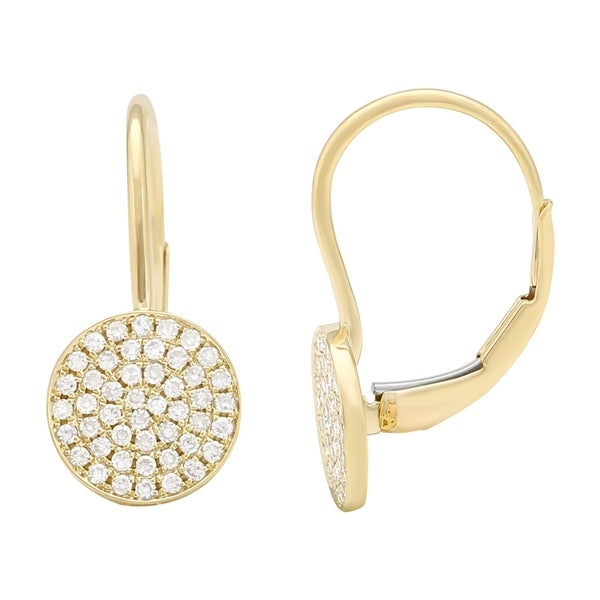 ffb857011 Shop 14k Yellow Gold Earring 0.28 Ct Natural White Diamond Disk Hoop  Earrings For Women - Free Shipping Today - Overstock - 22867082