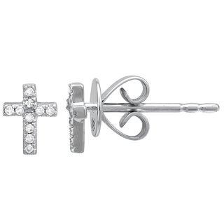 Unique 14k White Gold Cross Shaped Ear Studs 0.05 Ct Diamond Earring For Women & Teens