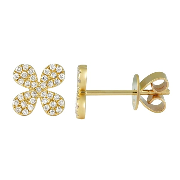 2d02763a9 Shop 14k Yellow Gold Floweral Shaped Earring 0.2 Ct Natural White Diamond  Ear Stud For Women & Teens - Free Shipping Today - Overstock - 22867128