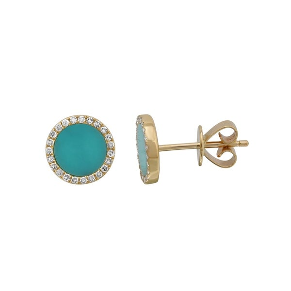 14k Yellow Gold Earring 0 14 Ct Natural Round Turquoise Diamond Stud Earrings For Women