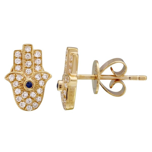 14k Yellow Gold Hamsa Hand Stud Earrings