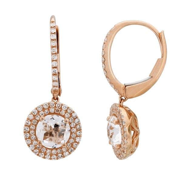 Unique Women X27 S Earring 14k Rose Gold 0 32 Ct Natural White Diamond Drop