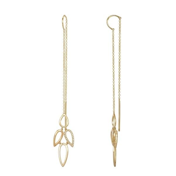 4f2627749 Shop 14k Yellow Gold Dhaga Earring 0.2 Ct Natural Diamond Long Dangle  Earrings For Women & Teens - Free Shipping Today - Overstock - 22867258