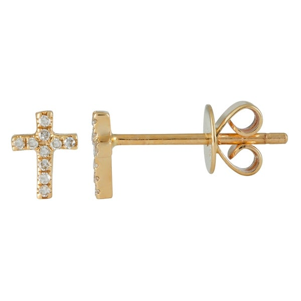 14k Yellow Gold Cross Shaped Ear Studs 0 05 Ct Natural Diamond Earring For Women