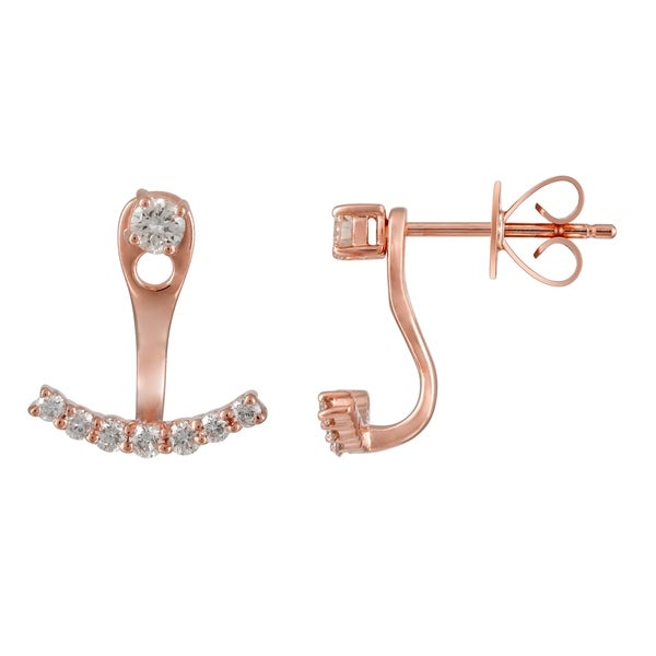 14k Rose Gold Ear Jacket Stud 0 38 Ct Natural Diamond Earrings For Women