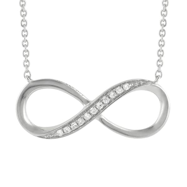 Shop 14k White Gold Diamond Necklace For Women Girls Fine Jewelry Infinity Shaped Pendant Chain Overstock 22867315