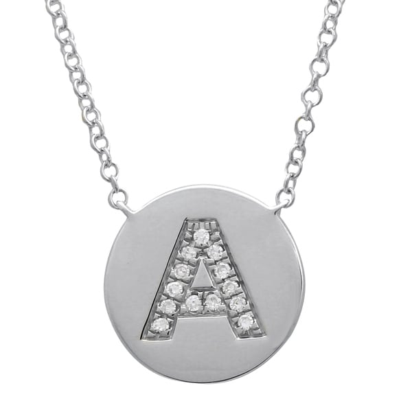 03b2edbdf7cdd A Initial Disk Pendant Necklace 14k White Gold 0.04 Ct Natural Diamond  Necklaces For Women