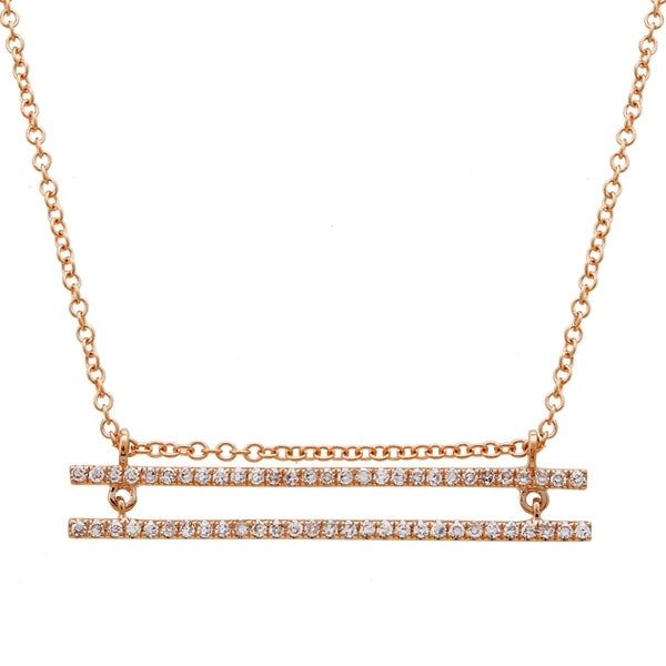 2148cd2acd1 Shop 14k Rose Gold Necklace For Women & Teens 0.26 Ct Natural Diamond 2 Row  Bar Pendant Chain - Free Shipping Today - Overstock - 22867637