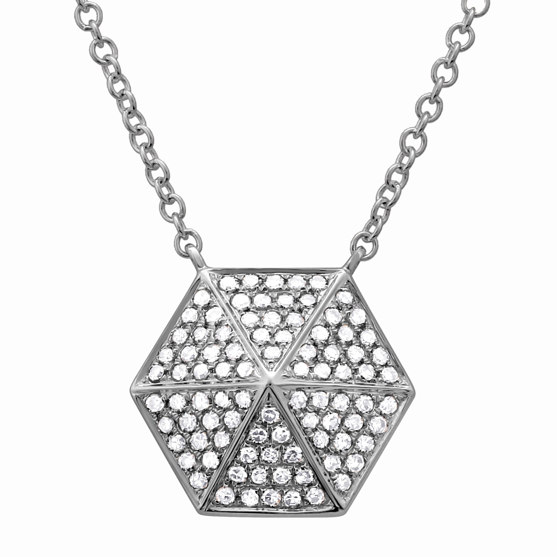14k Yellow Gold Black Diamond Hexagon Cluster Pendant 1//5 ct