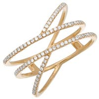 Women's 14k Yellow Gold Double Criss Cross Band Ring 0.24 Ct Natural Diamond Rings - Size 7
