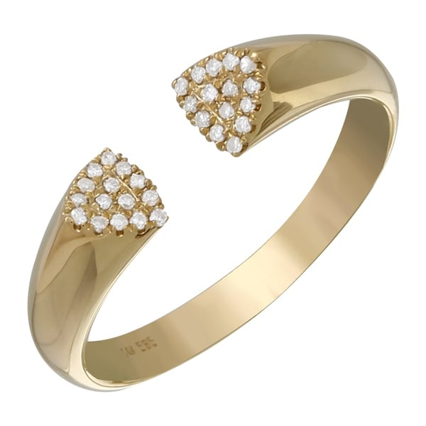 03120b98188 Shop Women s 14k Yellow Gold Rings - Size 7 0.08 Ct Stackable Natural  Diamond End Hinged Cuff Ring - Size 7 - Free Shipping Today - Overstock -  22868205