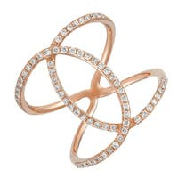 Unique 14k Rose Gold Criss Cross X Rings - Size 7 0.4 Ct Stackable Natural Diamond    - Size 7