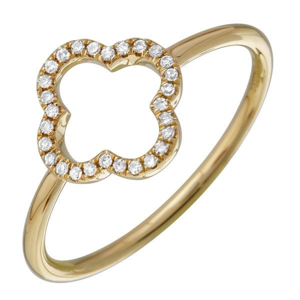 02a02bff680 Shop 0.08 Ct Natural Diamond Ring Band 14k Yellow Gold Open Clover Ring  Bands - Size 7 - Free Shipping Today - Overstock - 22868284