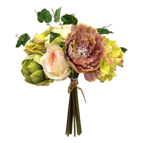 Italian dahlia, rose and artichoke bouquet