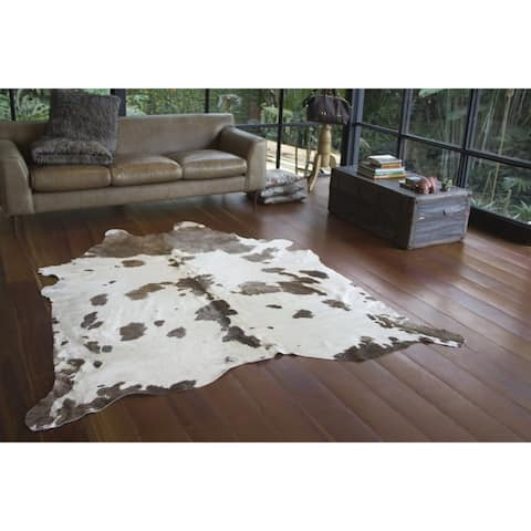Real Cowhide Rug Grey and White