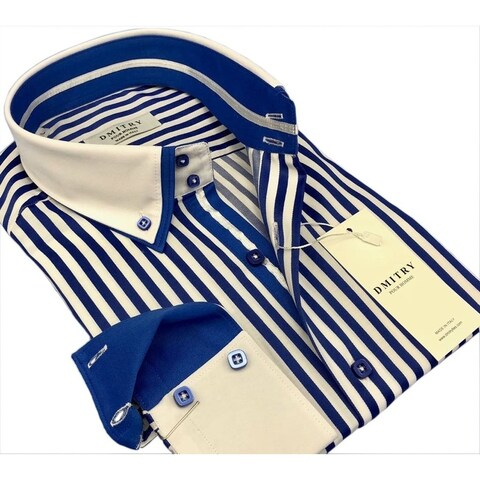 DMITRY Men's Slim Royal Blue/White Striped Italian Cotton Long Sleeve Dress Shirt