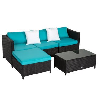Kinbor 5Pcs Garden Furniture PE Rattan Wicker Sofa All-Weather Sectional Furniture Cushioned Deck Couch Set