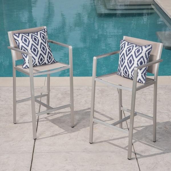 Shop Cape Coral Outdoor 29 50 Inch Mesh Aluminum Barstools