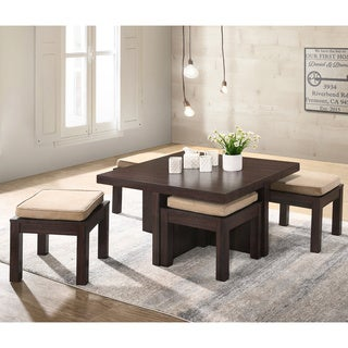 Mundy Dark Cherry Finish Coffee Table with Cushioned Stools (Set of 5) - 31.5l x 31.5w x  17.72h