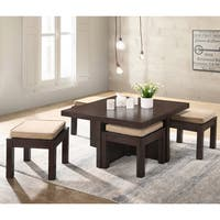 Mundy Dark Cherry/Beige Finish Coffee Table with Cushioned Stools (Set of 5) - 31.5l x 31.5w x  17.72h