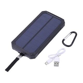 100000mAH Waterproof Solar Power Bank Dual Output Phone Battery Charger - black