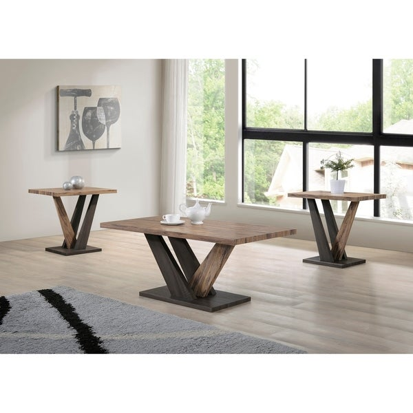 Carla Dark Gray/Brown Oak Finish Coffee and End Table (Set of 3) - 43.31l x 21.65w x 17.72h